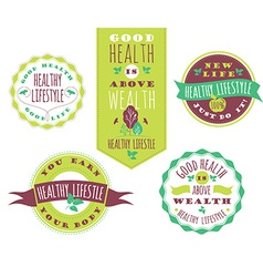 Set of Healthy Lifestyle Labels and Signs With vector