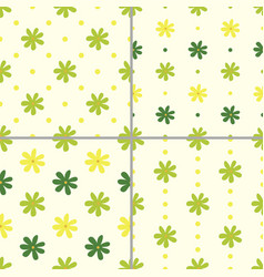 set of seamless patterns with flowers vector image