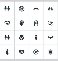 Set of simple feelings icons vector