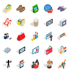 shopping icons set isometric style vector image