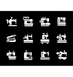 Simple white glyph garment factory icons vector
