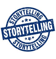Storytelling blue round grunge stamp vector