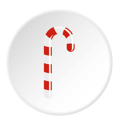 Striped candy cane icon circle vector