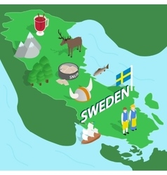 Sweden map isometric 3d style vector image vector image