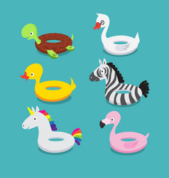 Swimming pool floats inflatable animals flamingo vector