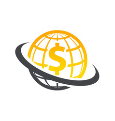 Swoosh globe dollar logo icon vector