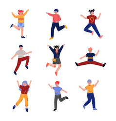 Teen boys and girls happily jumping collection vector