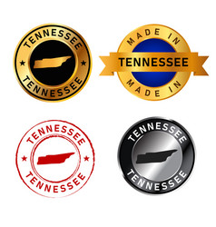 tennessee badges gold stamp rubber band circle vector image