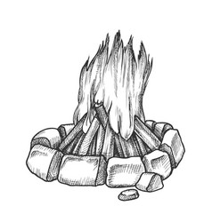 Traditional burning campfire monochrome vector