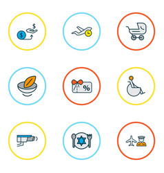 Transportation icons colored line set with vector