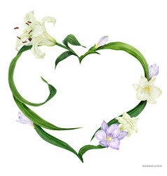Tropical heart wreath with white lily and violet vector