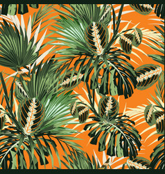 tropical jungle plants and palm monstera leaves vector image