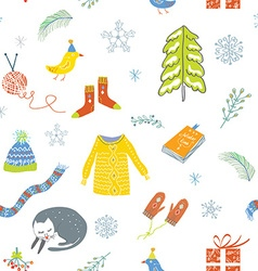 Winter and Christmas seamless pattern - cute vector image