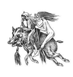 witch flies with a broom and a boar ancient vector image
