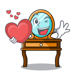 With heart dressing table mascot cartoon vector