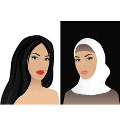 Woman in hijab and without hijab vector