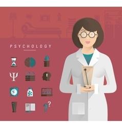 Women in a white coat psychologist vector