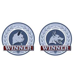 cat and dog pet awards vector image