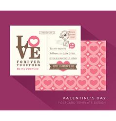 Cute Valentine LOVE postcard card design Template vector image