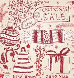 Hand Drawn Christmas Icon Set vector image