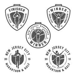 Set of vintage marathon medals and design elements vector image