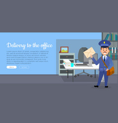 delivery to the office cartoon web banner vector image vector image
