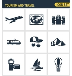 Icons set premium quality of tourism travel vector image vector image