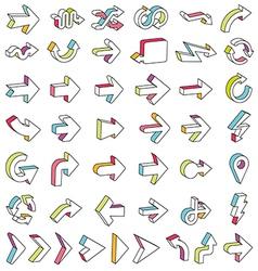 Line 3D Arrows Icon Set vector image