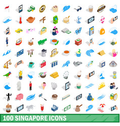 100 singapore icons set isometric 3d style vector image vector image