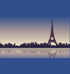 collection of eiffel tower scenery silhouettes vector image