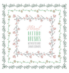 flexible floral pattern brushes with branches and vector image