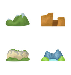 Green mountains with snow tops a canyon rocks vector