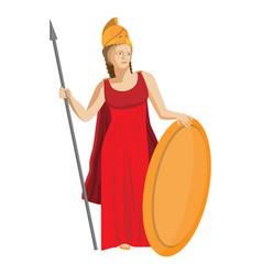 mythological greek athena holding spear and shield vector image