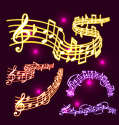 Notes music neon melody colorfull musician vector