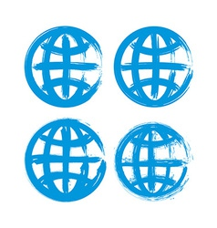 Set of hand-painted earth globe icons isolated on vector image vector image