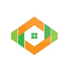abstract hexagon housing vector image vector image