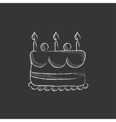 Birthday cake with candles Drawn in chalk icon vector image vector image