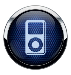 Blue honeycomb music icon vector image