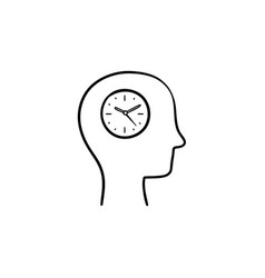 clock in the head hand drawn sketch icon vector image