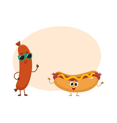 funny smiling sausage and hotdog characters fast vector image