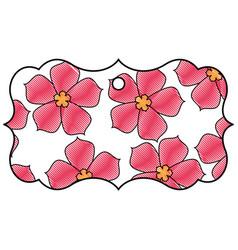 label classic flower sakura decoration vector image vector image