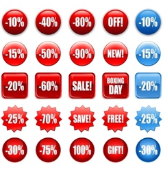 Red shopping sales icons labels tags vector image