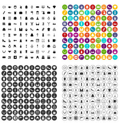 100 female goods icons set variant vector