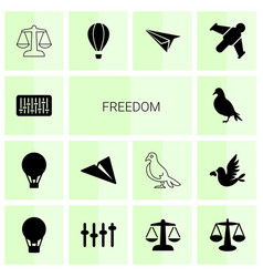 14 freedom icons vector image