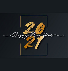 2021 new year script text with frame christmas vector image