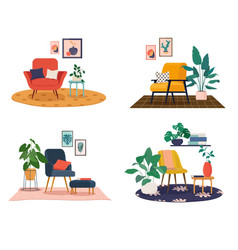 A set various modern home furnishings vector