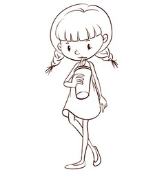 A simple sketch of a young girl drinking vector image