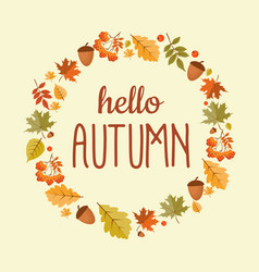 Abstract hello autumn background with falling vector