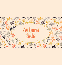 autumn sale text leaves on beige background vector image
