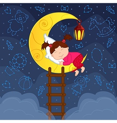 Baby girl sleeping on moon among stars vector